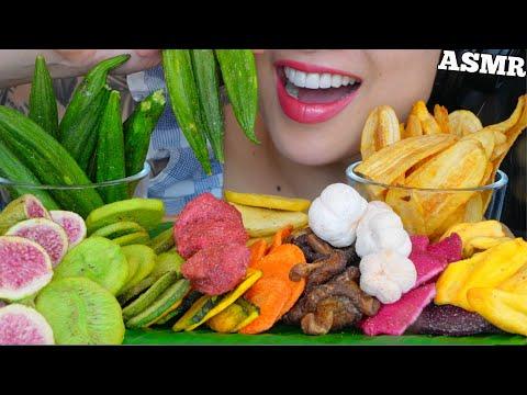 ASMR CRUNCHY HEALTHY FRUIT VEGGIE SNACK *CHIPS ผักผลไม้อบกรอบ (EATING SOUNDS) NO TALKING   SAS-ASMR