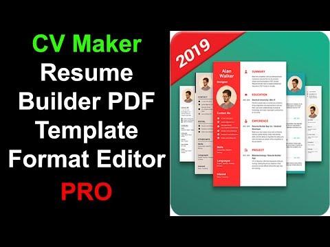CV Maker Resume Builder PDF Template Format Editor Pro Free Download