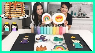 PANCAKE ART CHALLENGE! Learn How To Make Fidget Spinner & Emoji Surprise DIY Food Characters for Kid