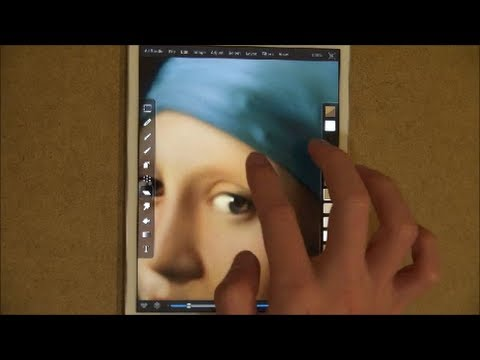 """""""Girl with a Pearl Earring"""" Finger Painting on iPad mini"""