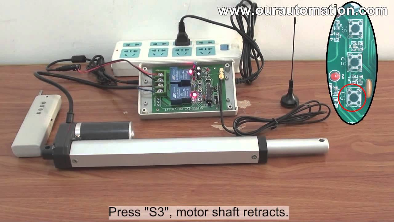 hight resolution of 12v dc linear actuator motor is controlled by remote controller and manual switch youtube