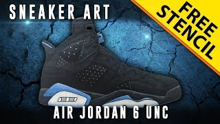Sneaker Art: Air Jordan 6 UNC w/ Downloadable Stencil