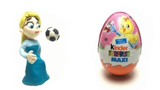 Qeen Elsa Stop Motion Animation Play Doh Soccer Ball Kicks and Surprise Eggs Maxi