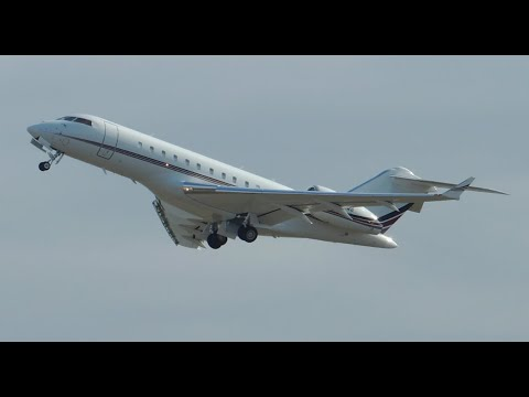 NetJets Bombardier Global 5000 [N111QS] takeoff from PDX