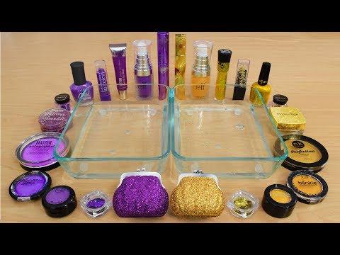 Purple Vs Gold - Mixing Makeup Eyeshadow Into Slime! Special Series 142 Satisfying Slime Video