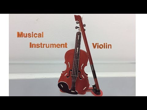 3D Paper Puzzle DIY, How to Assembly the Musical Instrument Violin