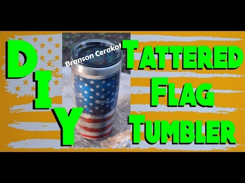DIY Tattered Flag Yeti Stainless Steel Tumbler in Cerakote | Stencil | 3 Color