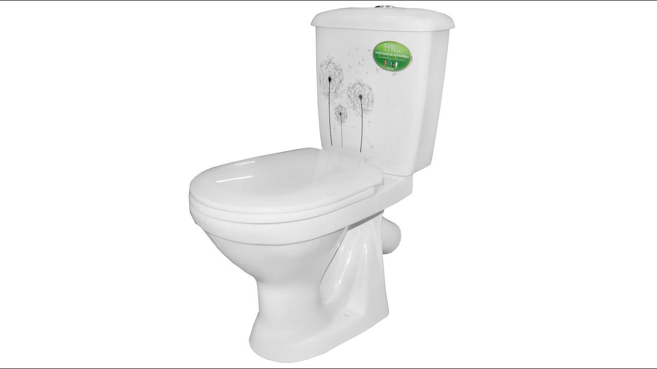 Унитаз-компакт Оскольская керамика Суперкомпакт декор одуванчик дизайн раковин ванной комнаты