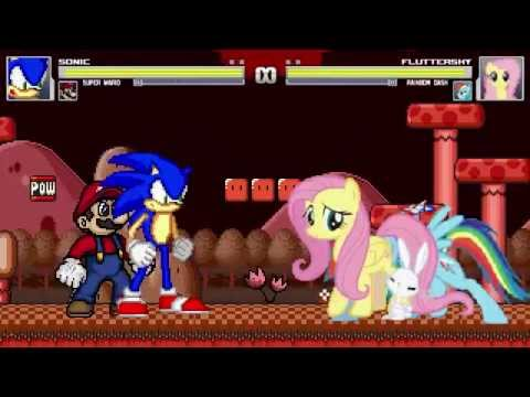 AN Mugen Request #177: Sonic & Super Mario VS Fluttershy & Rainbow Dash