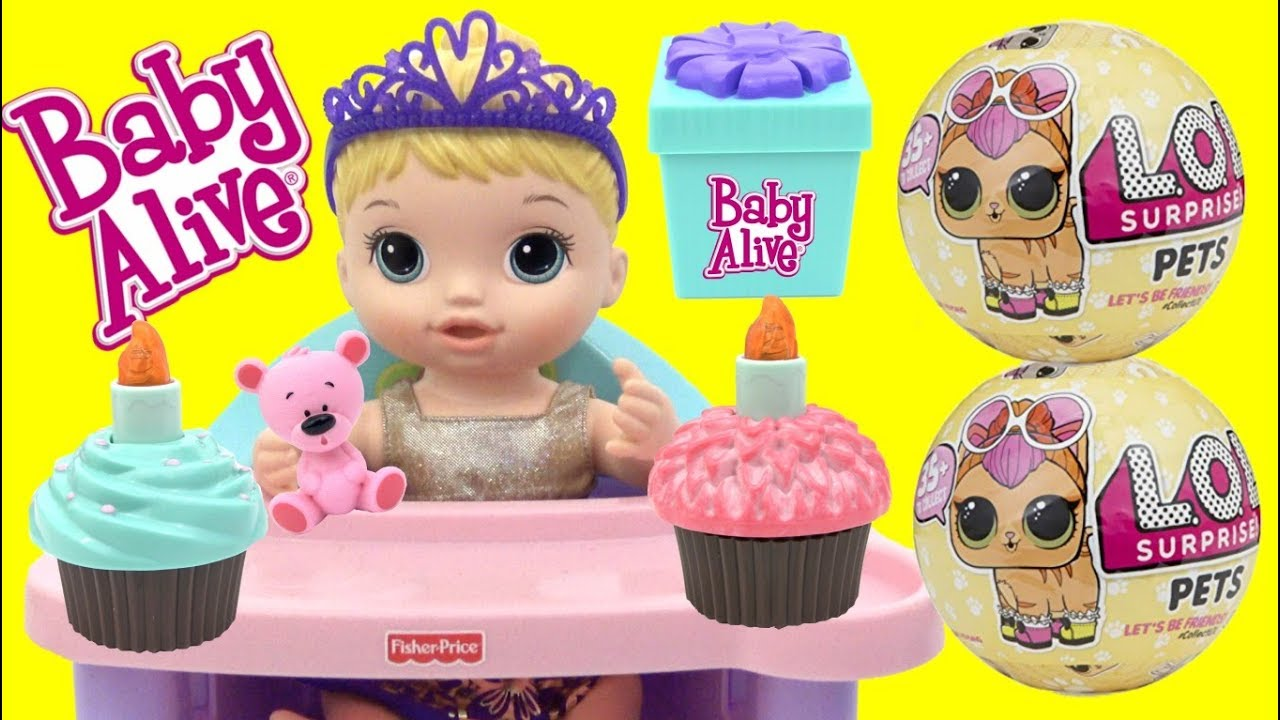 Baby Alive Cupcake Birthday Baby With Lol Surprise Dolls Pets Youtube