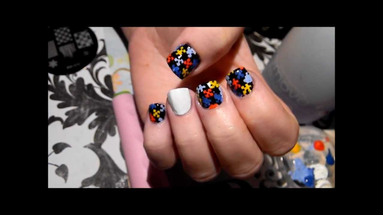 Autism nail design tutorial puzzle pieces stamping bundle monster autism nail design tutorial puzzle pieces stamping bundle monster plate youtube prinsesfo Images