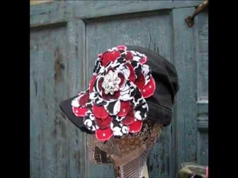 Alabama Crimson Tide Frayed Flower |Black or Camo Distressed Cadet Hat