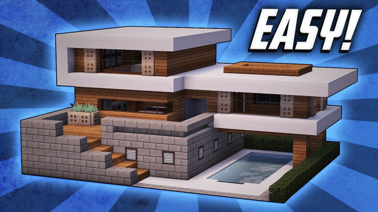 Minecraft how to build a large modern house tutorial 19 for Big modern houses on minecraft
