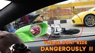 ACCIDENT Caught on Cam from Lamborghini | Please Ride Safe !!