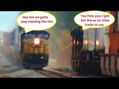 2 Big Fast CSX Trains Meet