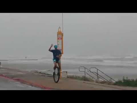 Unicycling Galveston Seawall - Hurricane Harvey