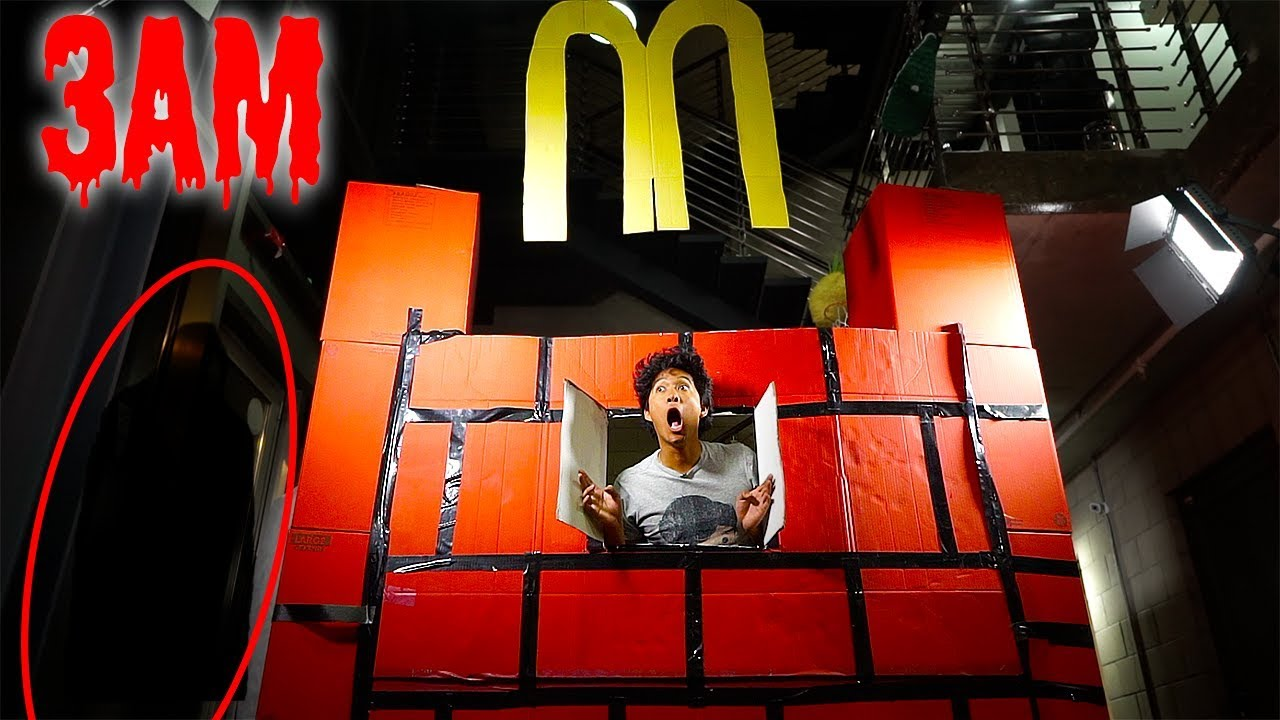 3am-mcdonalds-giant-box-fort-24hrs-over-night-challenge