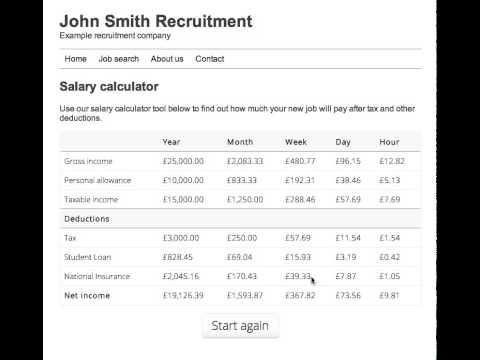 SalaryBot Salary Calculator Widget Demo