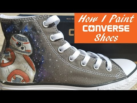 decb42c23d98 How to paint your own canvas shoes Converse All Star Hand Painted ...