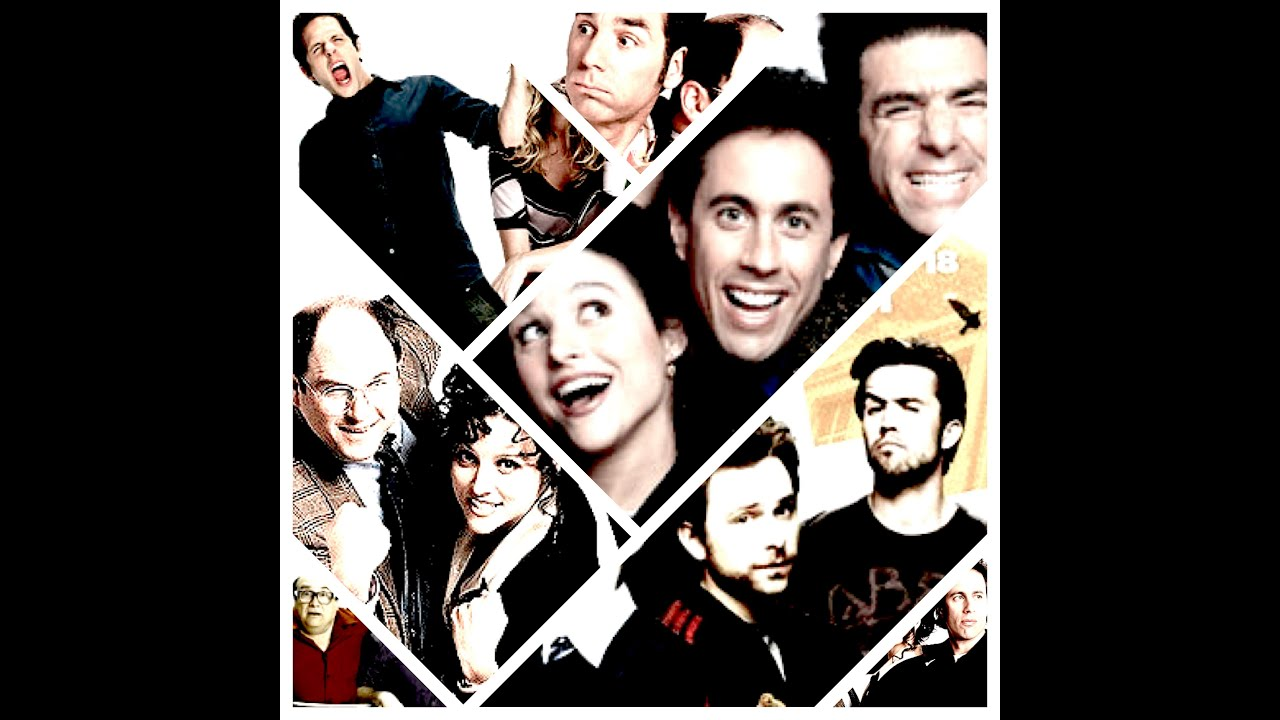 "Collage of the faces of the main characters from the TV series ""Seinfeld"" and ""It's Always Sunny in Philadelphia"""