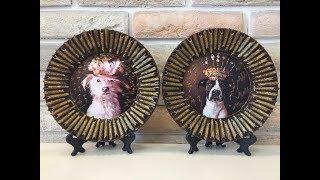 Декор тарелки макаронами. Собака. Diy.