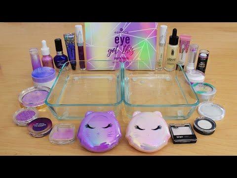 Lavender Vs Pearl - Mixing Makeup Eyeshadow Into Slime ASMR 282 Satisfying Slime Video