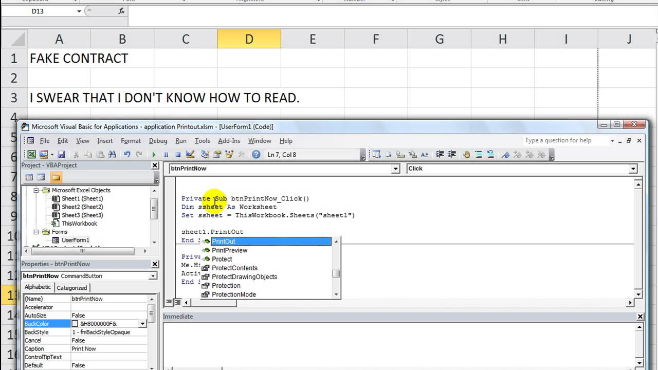 Excel VBA Basics #31 Send Sheets Straight to Printer using PrintOut ...