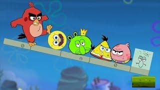 Angry Birds Kick Piggies vs. Spongebob Kick The Squidward Gameplay!