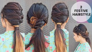 2 Quick & Easy Indian Festive Hairstyle/Low Ponytail Hairstyle/Hairstyle For Medium To Long Hair