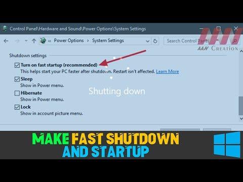 How To Make Windows Fast Shutdown And Startup