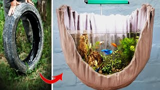 Make Amazing Aquarium With Special Shape From Tire Very Easy