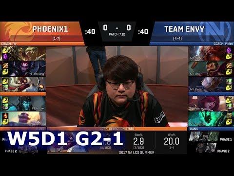 Phoenix1 vs Team EnVyUs | Game 1 S7 NA LCS Summer 2017 Week 5 Day 1 | P1 vs NV G1 W5D1