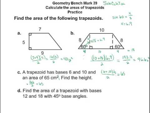 Geometry- Area of trapezoid and regular polygons using trig