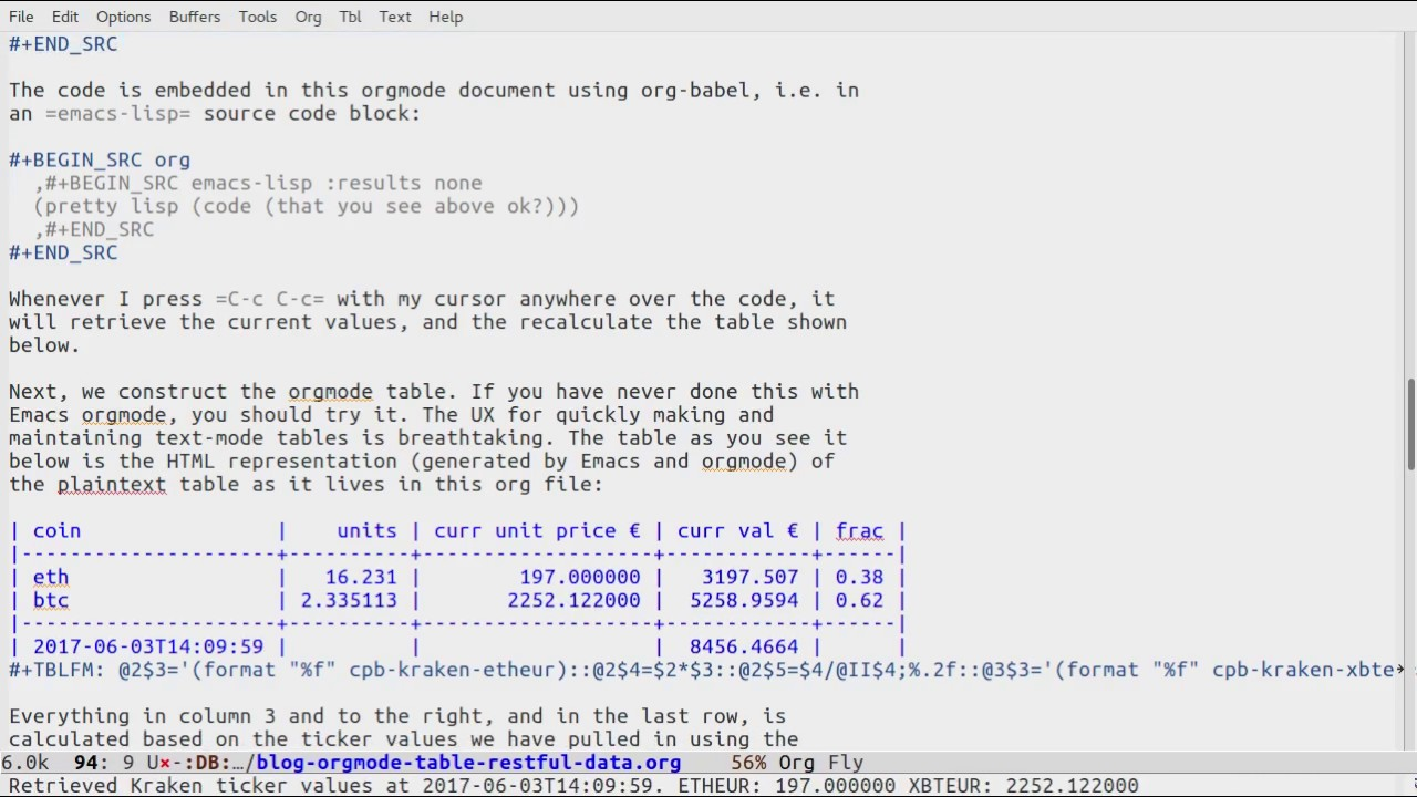 Querying RESTful webservices into Emacs orgmode tables - vxlabs