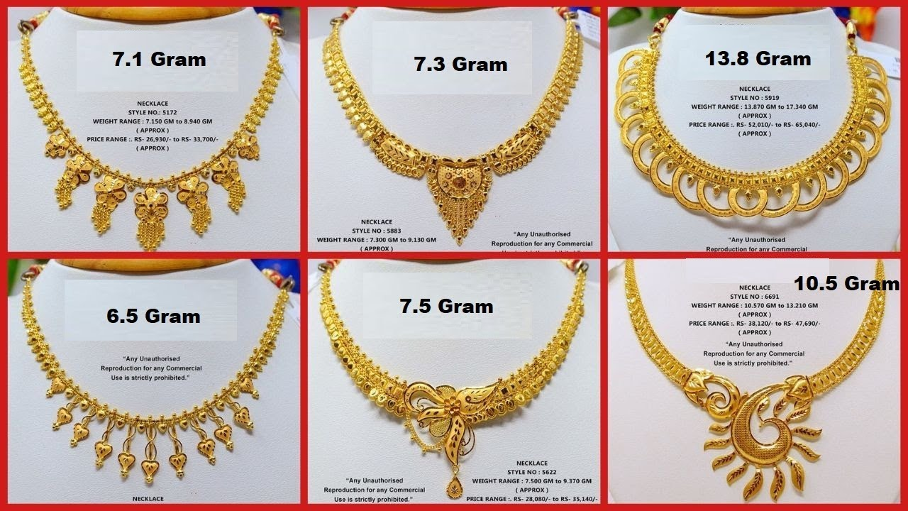 Latest Light Weight Gold Necklace Designs With Weight And Price 2019 Collection Youtube