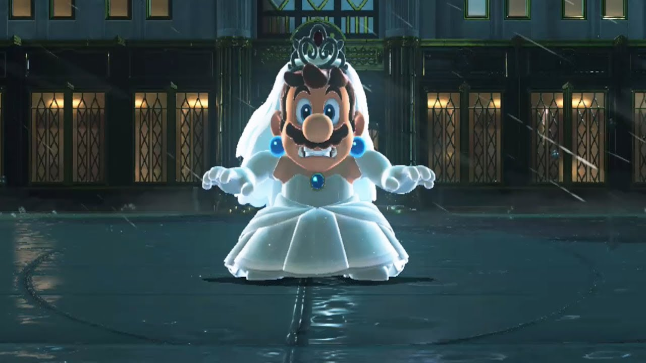 Wedding Dress Mario Vs Mecha Wiggler Twins Super Mario Odyssey