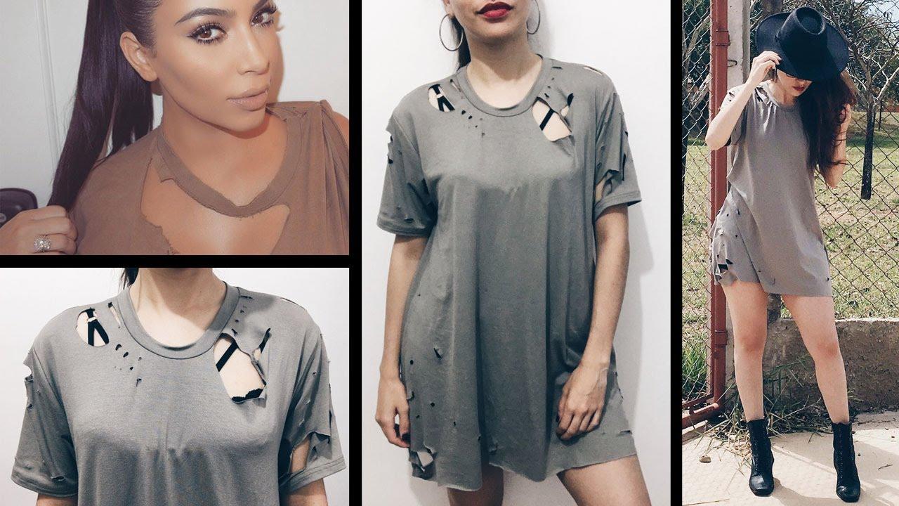 ce800a975 Fazendo Camiseta Rasgada Destroyed Feminina - Inspiração Kim Kardashian