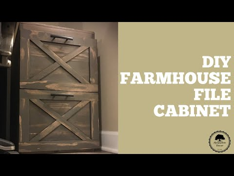 DIY Rustic Farmhouse Filing Cabinet/ How to // Woodworking