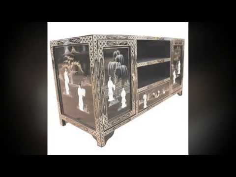 Oriental Chinese Black TV Unit By Newquay Bonsai