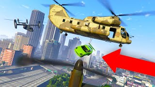 WHAT HAPPENS IF YOU DROP A CAR ONTO THE AVENGER?? | GTA 5 THUG LIFE #342