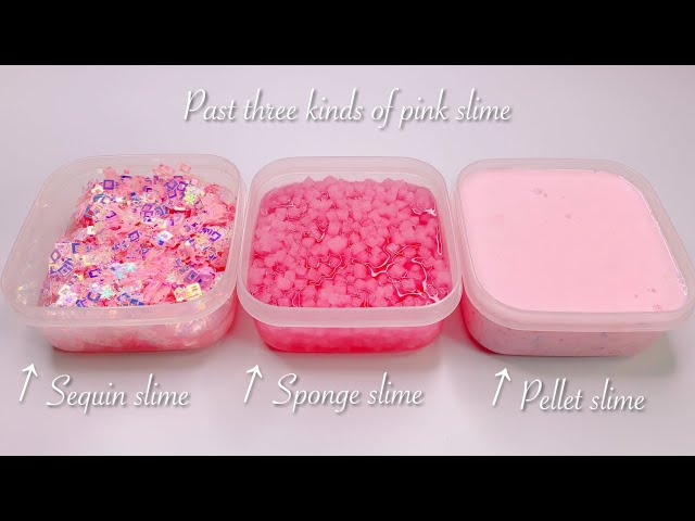 【ASMR】お気に入りのスライム達✨【音フェチ】과거 3 종류의 핑크 점액 Past three kinds of pink slime No talking ASMR