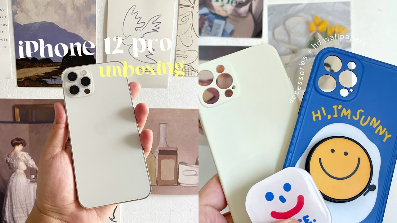 iPhone 12 pro silver unboxing + accessories   aesthetic hd wallpapers   breese authentics