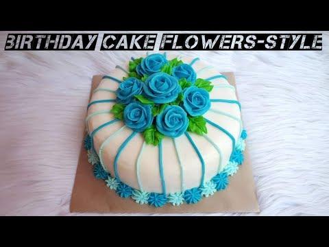 Cara Membuat Kue Ulang Tahun Bunga Mawar Warna Biru