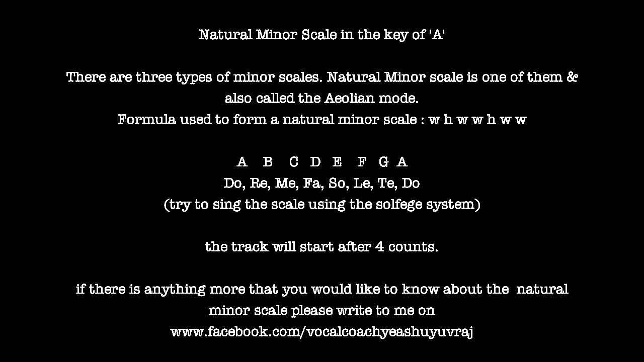 Natural Minor Scale key of A (vocal practice) - YouTube