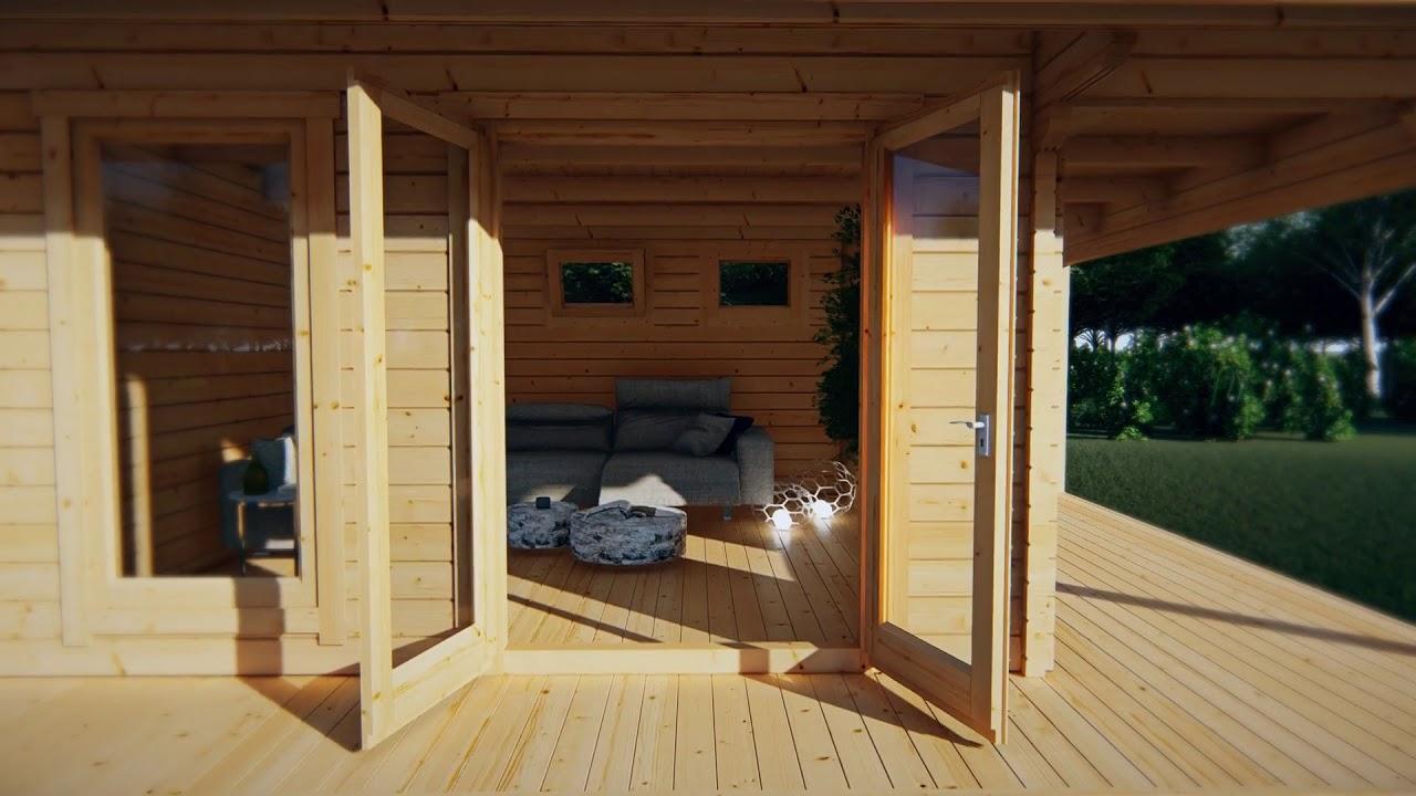 Gartenhaus Hansa Lounge XXL mit 2 Zimmern 22m²   YouTube