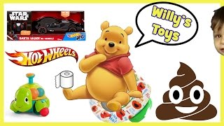 Winnie the Pooh goes Potty on Elmo Toilet FUNNY Star Wars Darth Vader Car HOT WHEELS - Willys Toys