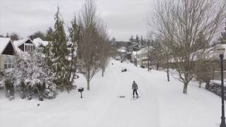 Portland snowstorm 2017: Drone video of neighbors skiing