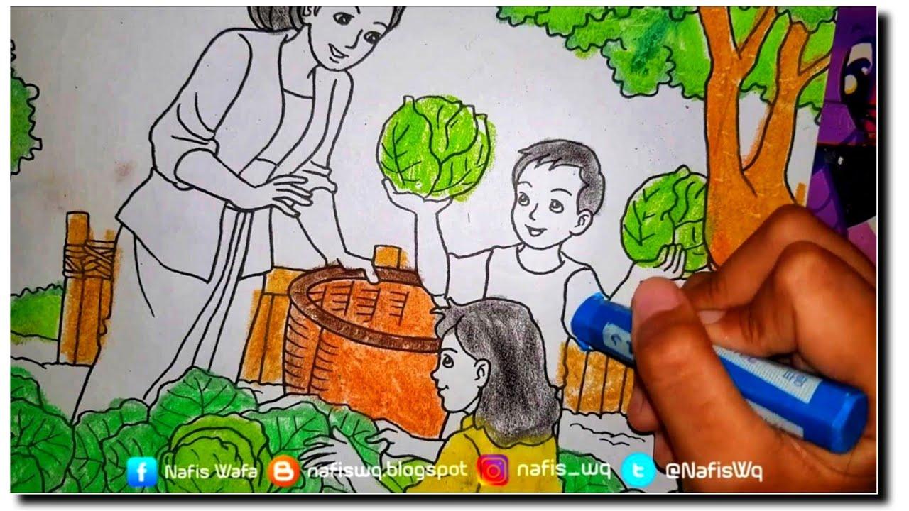 BORONGAN MEWARNAI Mewarnai Sayuran Kakak Adek Ayah Ibu Coloring Book For Kids
