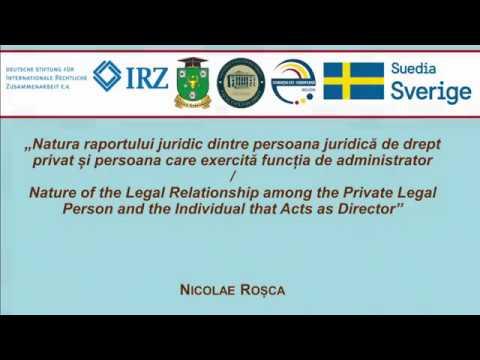 Dr. N. Rosca — Natura raportului juridic dintre persoana juridică și administrator