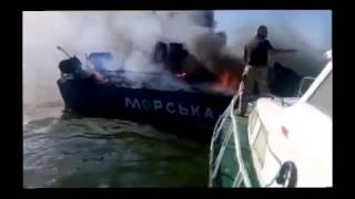 2 Ukrainian border guard boats were hit by Russian Combat Helicopters near Mariupol on August 31